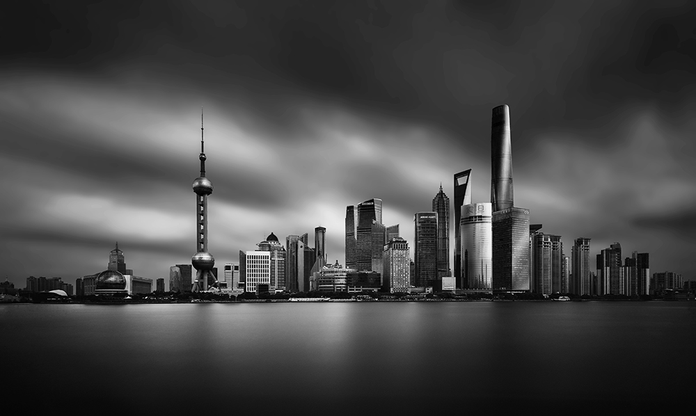 gothamesque Shanghai skyline on a stormy day