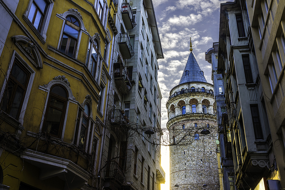 Galata Tower at sunrise in Istanbul