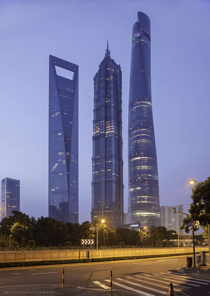 Shanghai skyscrapers at sunrise