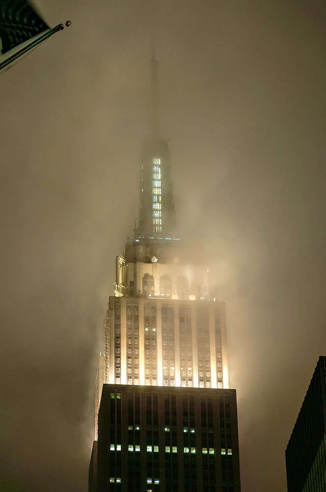 Empire State building in clouds