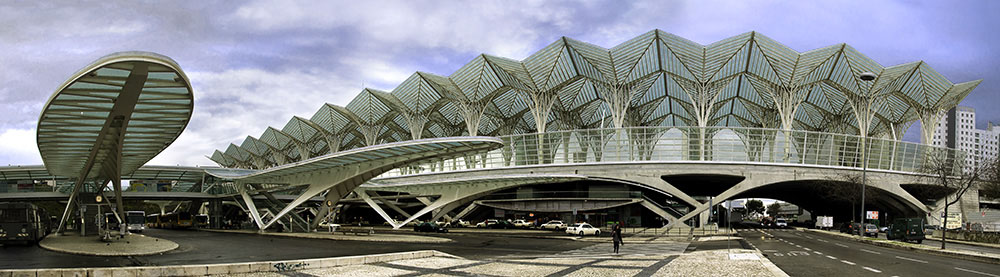 Oriente station in Lisbon designed by Architect Santiago Calatrava